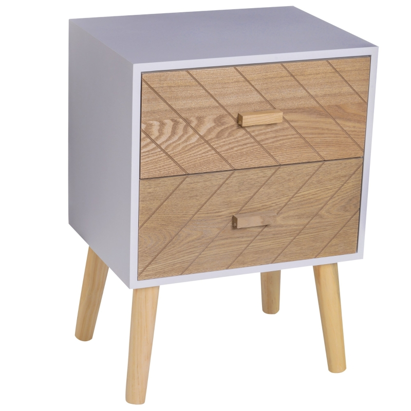 HOMCOM Nordic Style 2 Drawers Side Cabinet Wooden Bedside Table Storage Chest Organiser