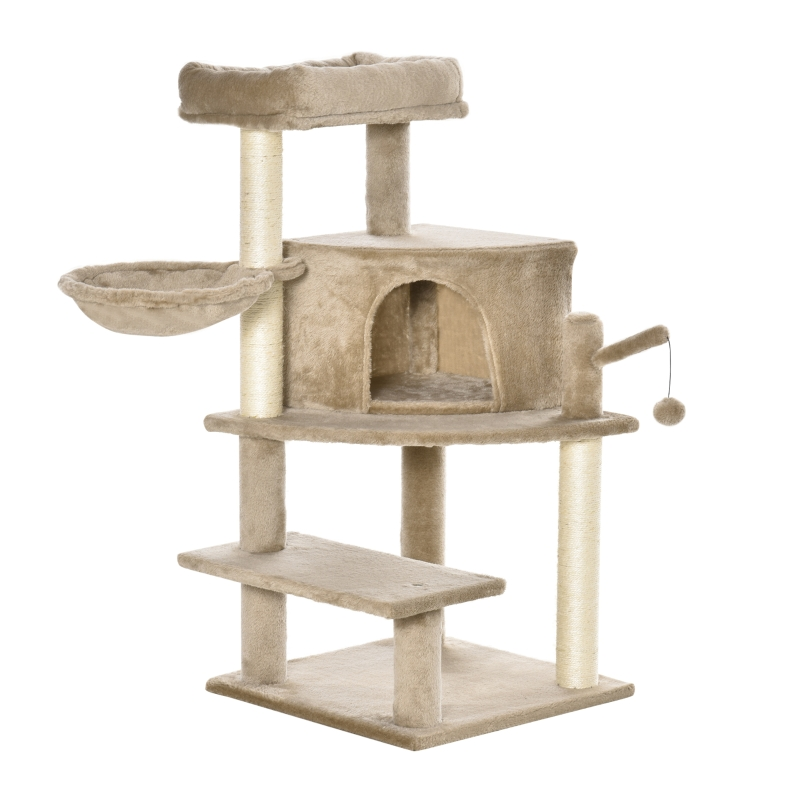 PawHut Cat Tree Tower Climbing  Activity Center with Sisal Scratching Post, Brown