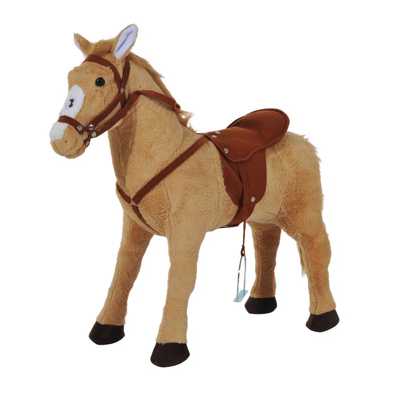 HOMCOM Children's Plush Sound Effects Riding Horse Beige-Brown
