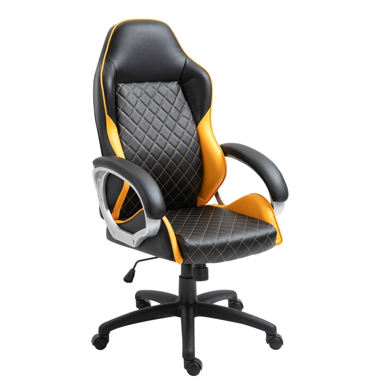 Vinsetto Office Chair Faux Leather Diamond Line High-Back Rocker Swivel Desk Chair Orange