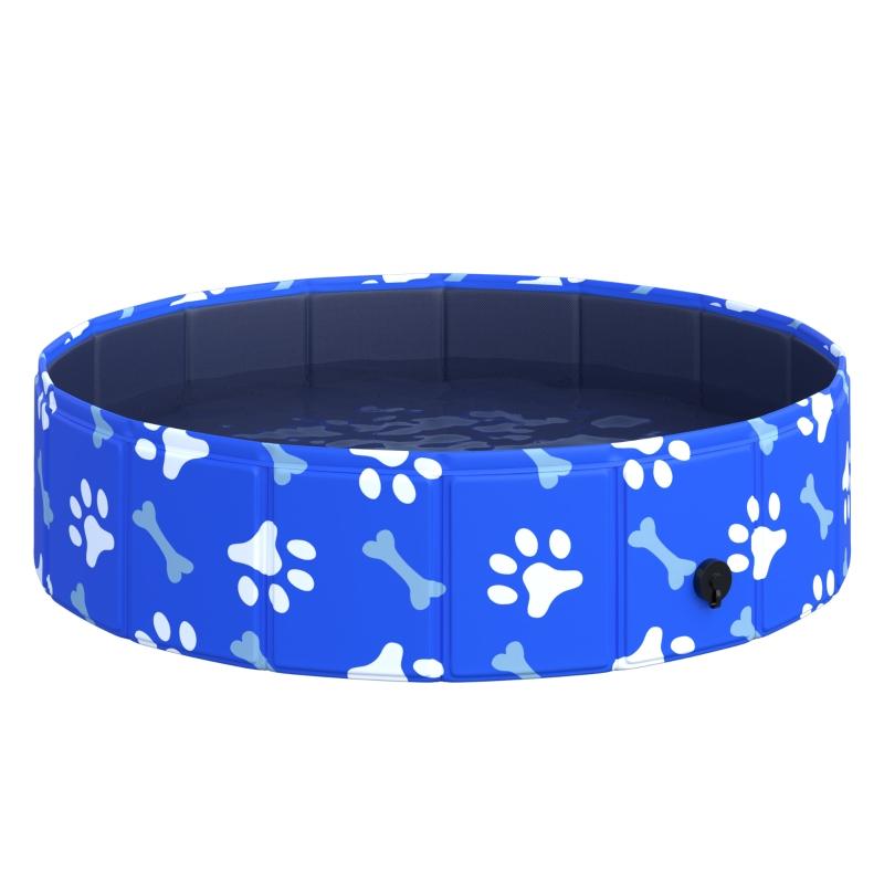 PawHut Dog Swimming Pool Foldable Pet Bathing Shower Tub Padding Pool Φ80×20Hcm XS