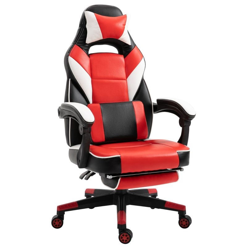 Vinsetto PU Leather Extendable Footrest Gaming Chair Red