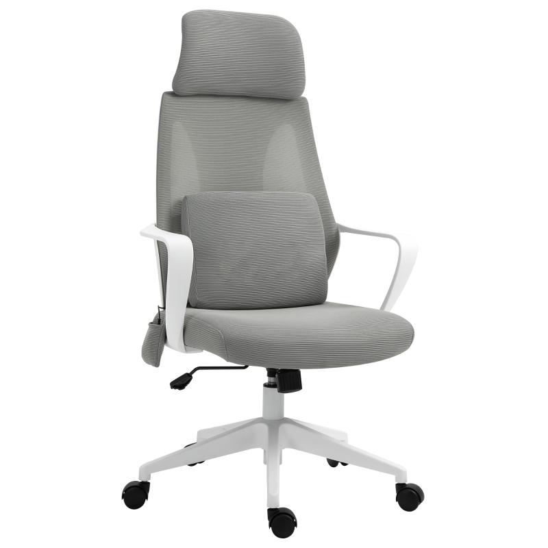 Vinsetto Mesh Office Chair & Massage Pillow Ergonomic Adjustable Height w/ Wheels