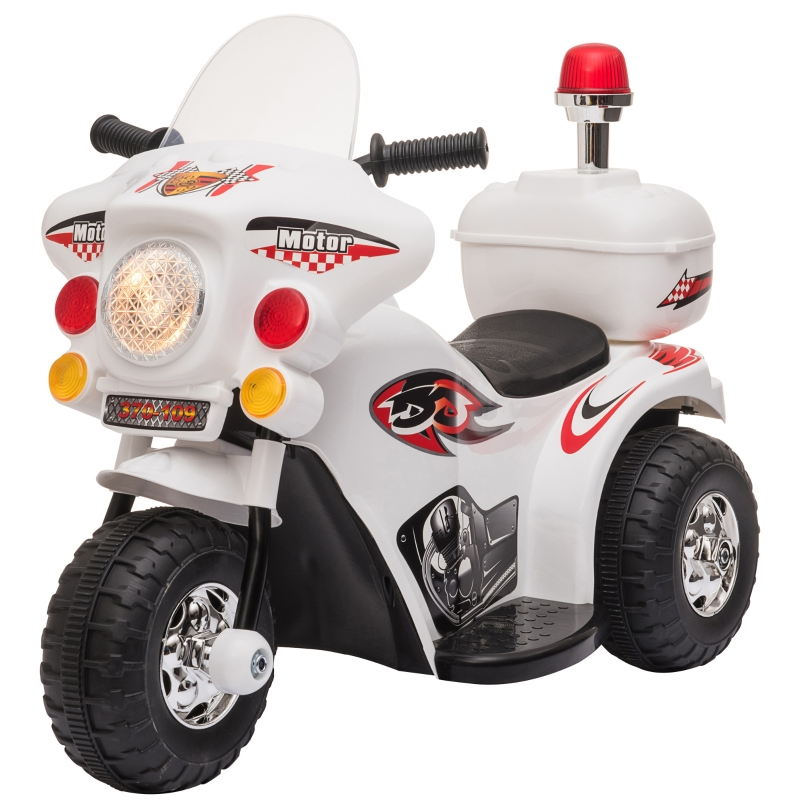 HOMCOM Toddlers Electric PP Motorcycle Ride On Trike White