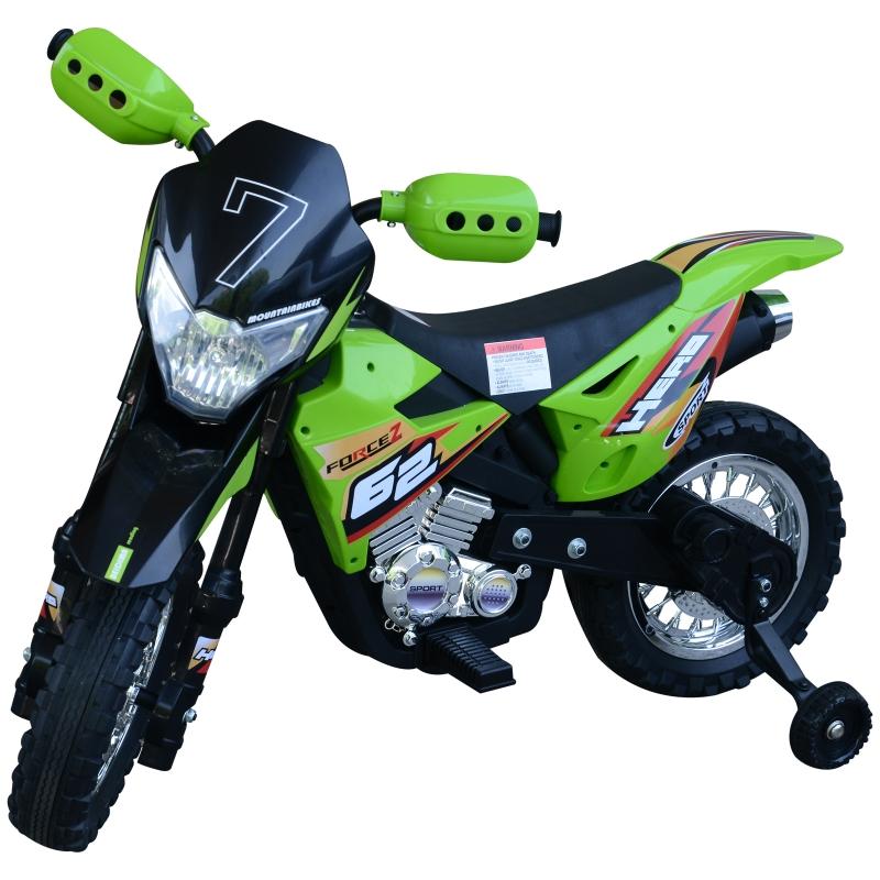 HOMCOM Children Motorbike Ride On Car Electric 6V Battery Kids Toy 4-Wheel - Green
