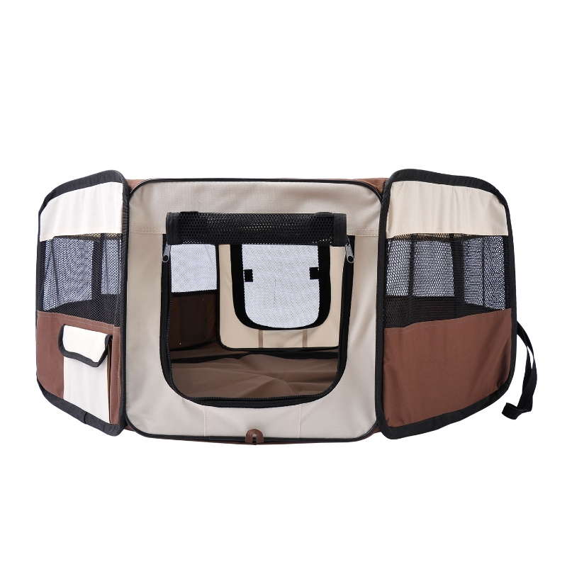 Pawhut Fabric Pet Dog Playpen 8 Panels Portable  (37cm x37cm x95cm)-Brown/Cream