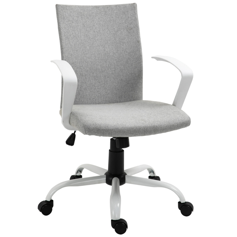Vinsetto Office Chair Linen Swivel Computer Desk Chair Home Study Task Chair, Light Grey
