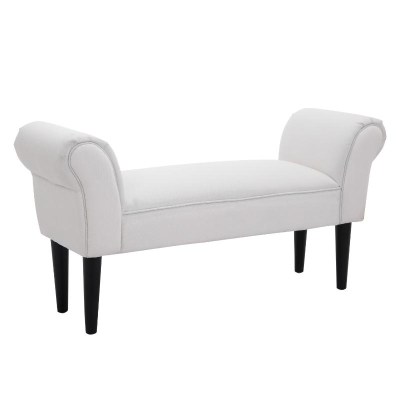 HOMCOM Upholstered MDF Bedroom Chaise Lounge Bench White