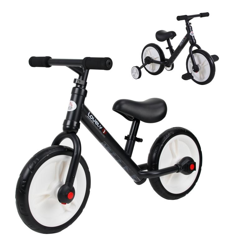 HOMCOM PP Toddlers Removable Stabiliser Balance Bike Black
