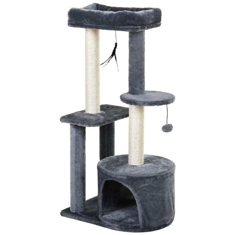 PawHut Cat Multi-Activity Tree Tower w/ Perch House Scratching Post Play Ball Plush Fun