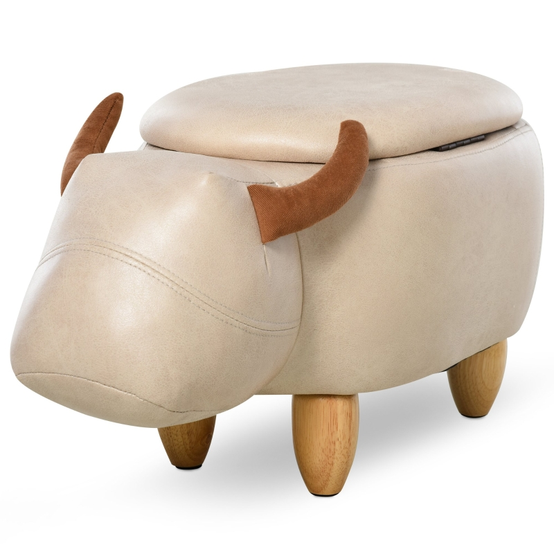 HOMCOM PU Leather Upholstered Cow Storage Stool Ivory
