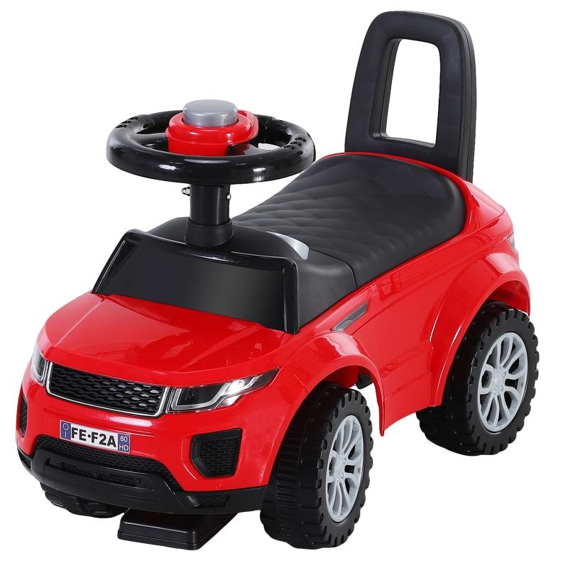 HOMCOM 3-in-1 Ride-On Car Walker Stroller Push-Along w/ Horn Wheel & Under Seat Storage Red