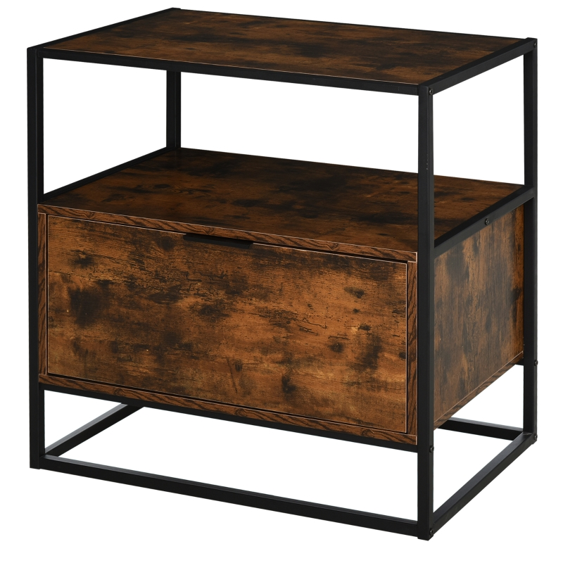 HOMCOM 2 Tier Industrial Style Side Table End Desk Storage Unit with Drawer and Open Shelf