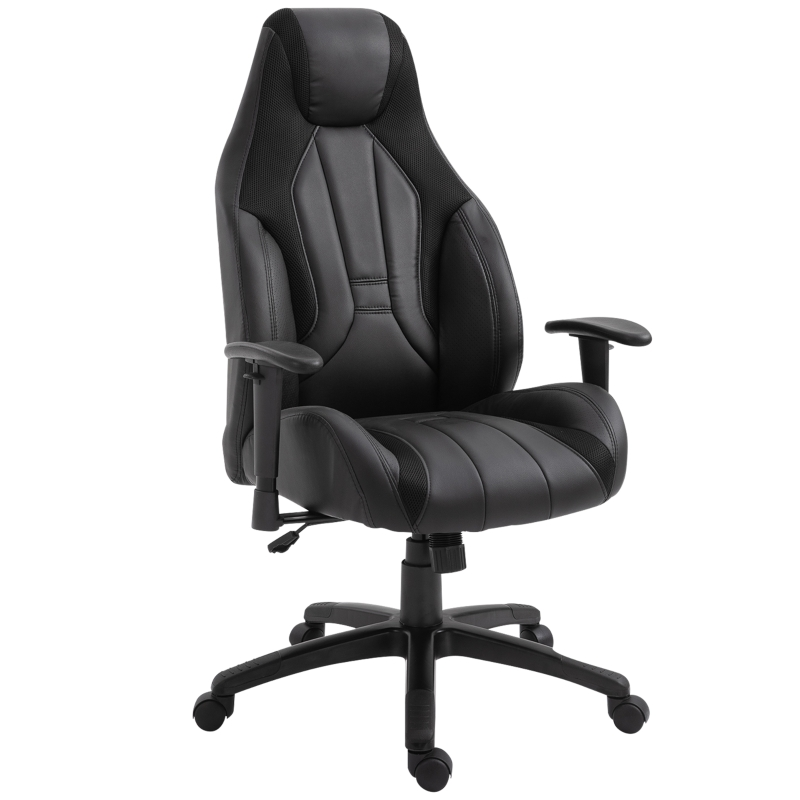 Vinsetto PU Leather Upholstered Adjustable-Sit Home Office Chair Grey/Black