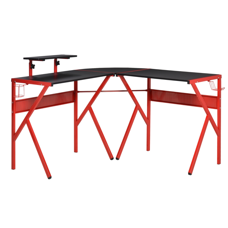 HOMCOM Corner Gaming Desk for Home Office w/ Monitor Stand Cup Holder Headphone Hook