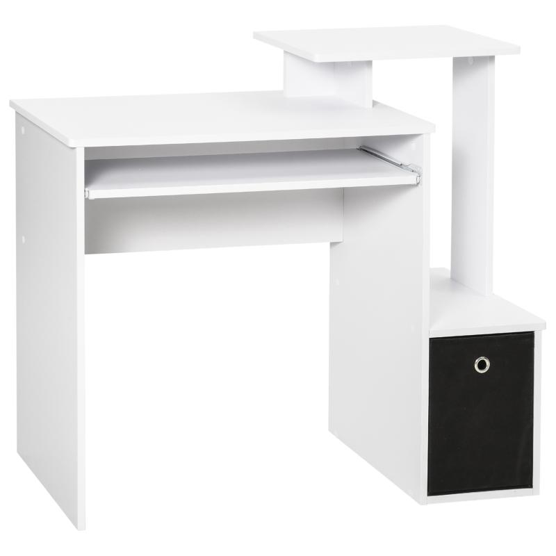 HOMCOM Particle Board Multi-Tier Computer Desk White