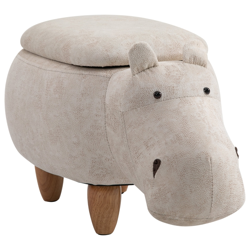 HOMCOM Polyester Upholstered Hippo Storage Stool Cream/White