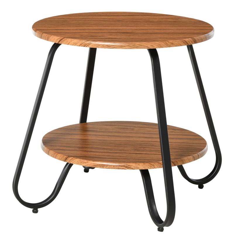 HOMCOM Metal Frame 2-Tier Particle Board Coffee Table
