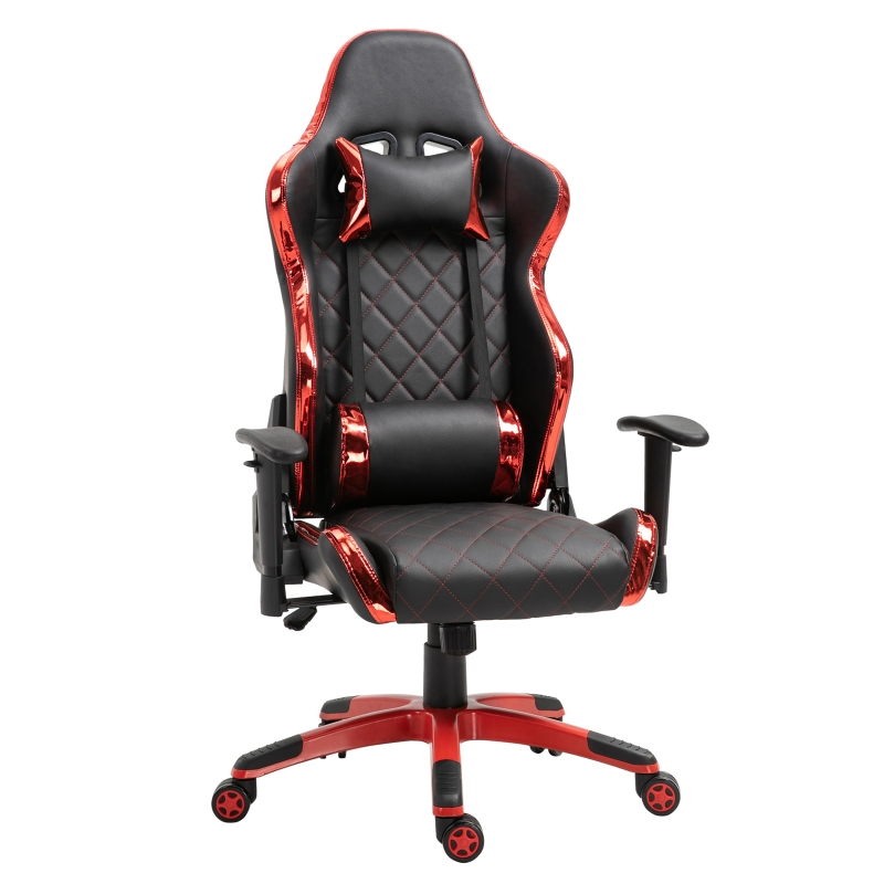 Vinsetto PU Leather Holographic Accent Gaming Chair w/ Pillows Red