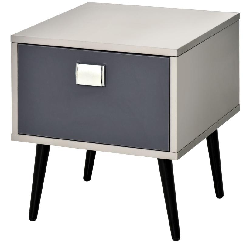 HOMCOM MDF 1-Drawer Bedside Table Grey
