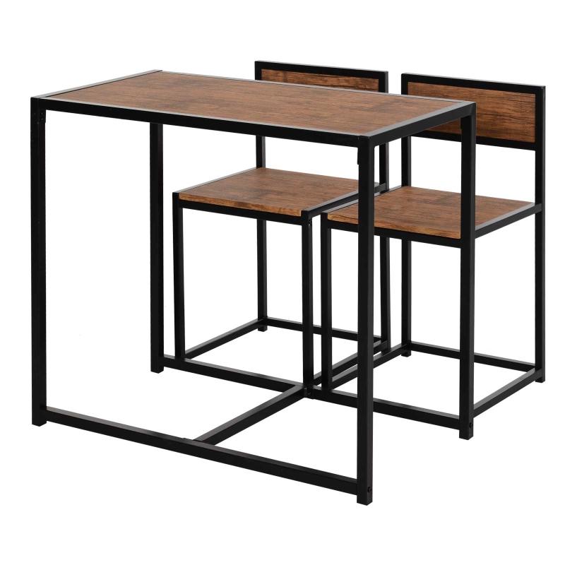 HOMCOM Steel Frame MDF 2-Seater Bar Stool and Table Set Wood Tone