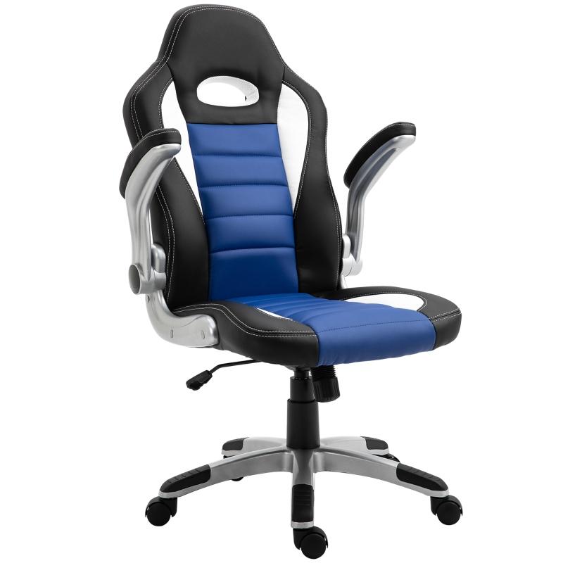 HOMCOM PU Leather Racing Office Chair-Black/Blue/White