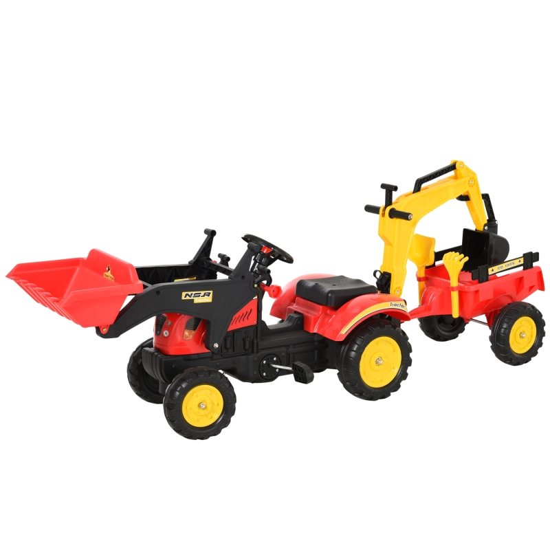 HOMCOM Kids Controllable Excavator Plastic Ride On Pedal Truck Red/Yellow