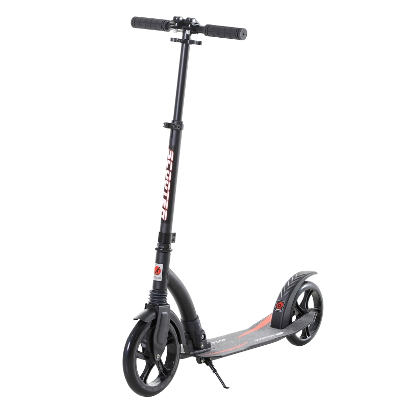 HOMCOM Teen/Adults Aluminium Folding Kick Scooter w/ Shock Mitigation System Black