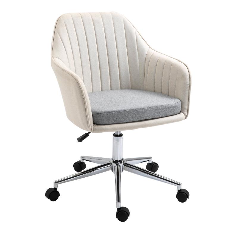 Vinsetto Leisure Office Chair Linen Swivel Computer Desk Chair Study w/ Wheel, Beige