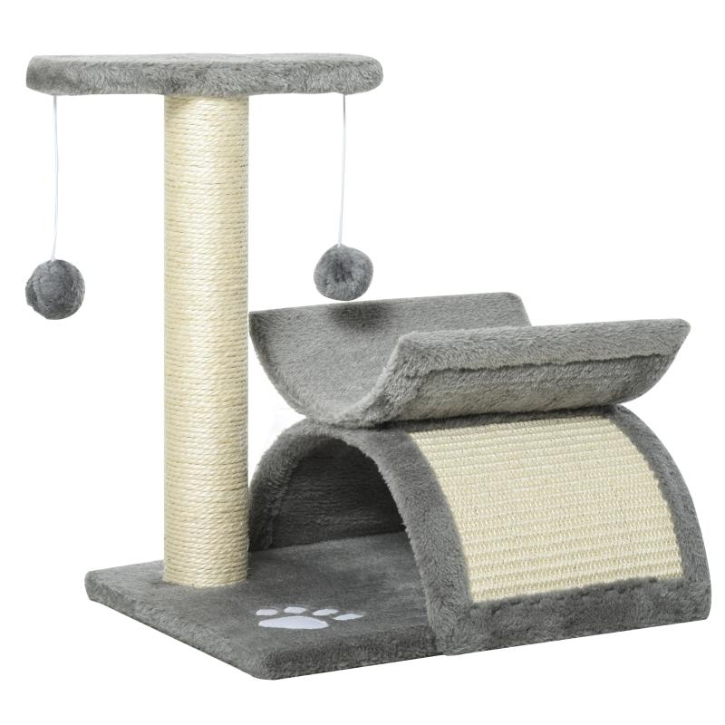 PawHut Cat Tree Plush Kitty Activity Center Top Bar Tunnel Dangling Ball Light Grey