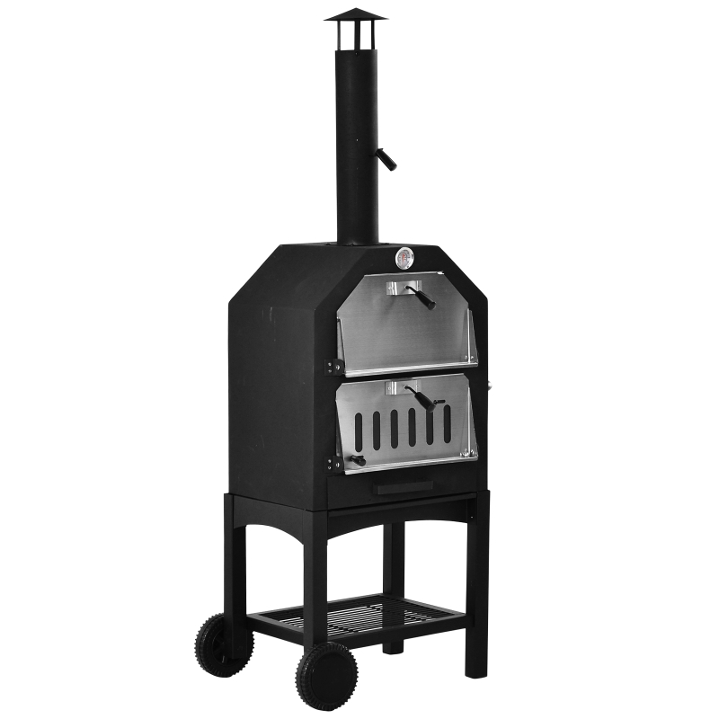 Outsunny Stainless Steel 2-Tier Outdoor Charcoal Pizza Oven