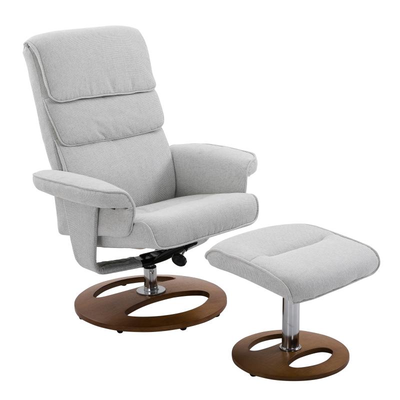 HOMCOM Recliner Chair Ottoman Set, Bent Wood Base-Grey