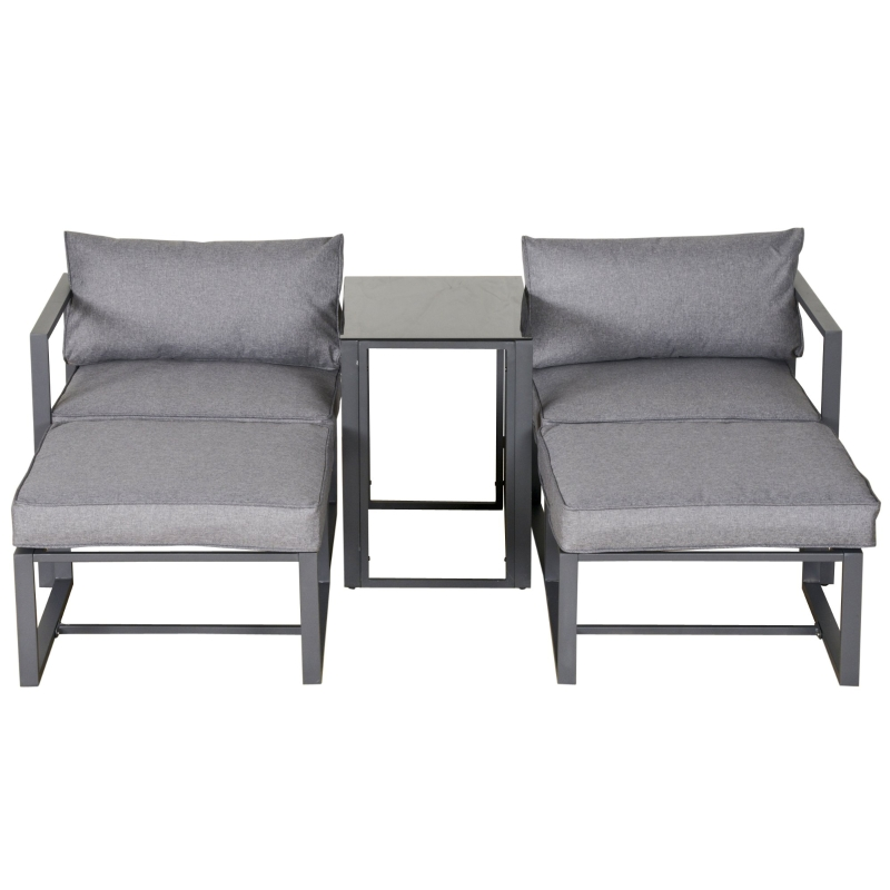 Outsunny 5 Piece Garden Conversation Set Sun Lounger 2 Footstools End Table with Cushions