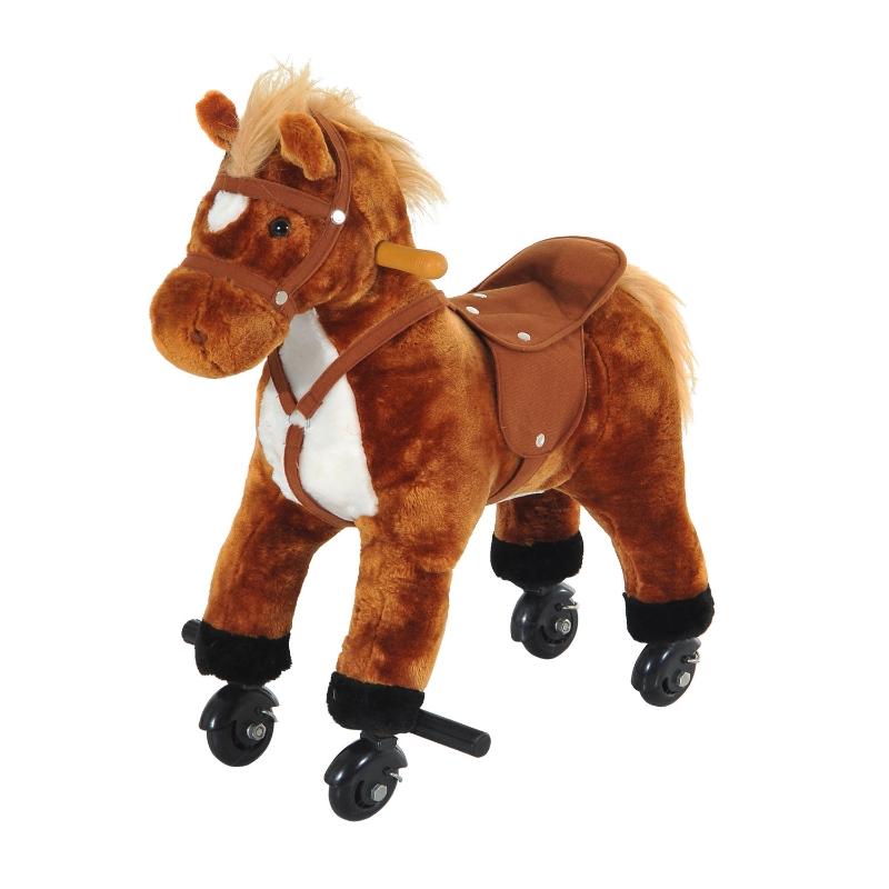 HOMCOM Baby Horse Rocker Kids Rocking Horse Ride On Horse Action Pony Wheeled Walking Riding Plush Toy W/ Rolling Wheels and Sound