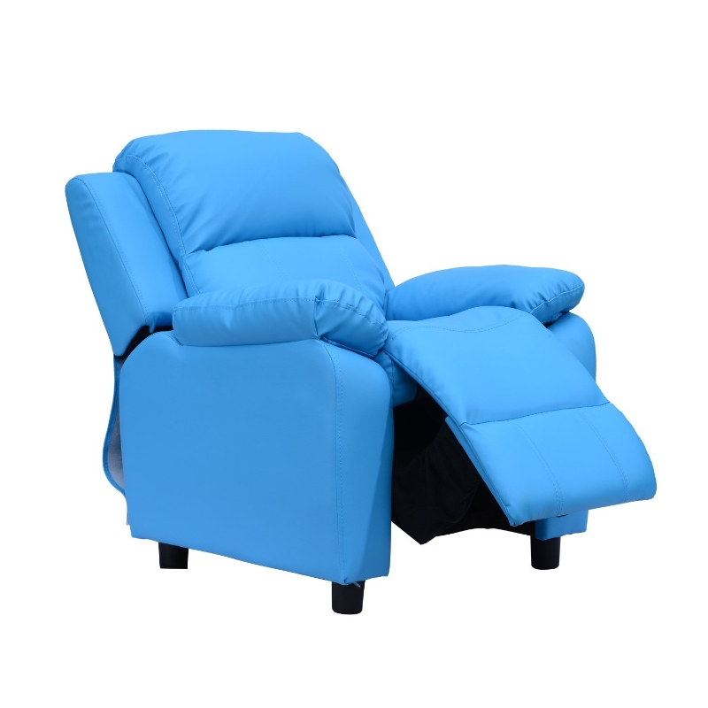HOMCOM Childrens Recliner Armchair W/ Storage Space on Arms-Blue
