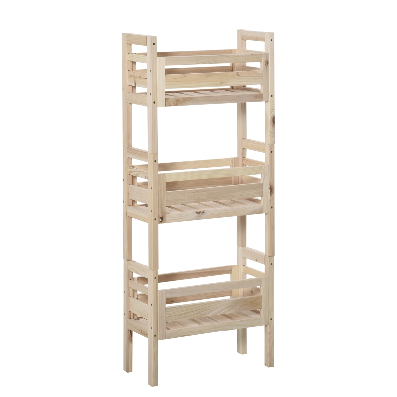 Outsunny 3pcs Wood Flower Stand Flower Pot Display Organizer w/ Slatted Shelves Natural
