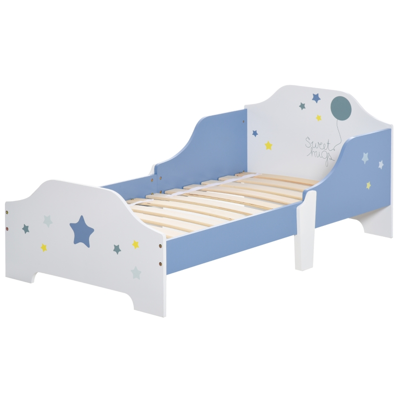 HOMCOM Kids Toddler Wooden Bed Round Edged with Guardrails Stars Image 143 x 74 x 59cm