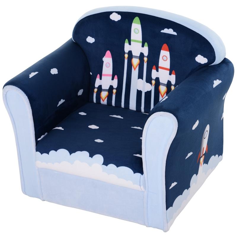 HOMCOM Kids Armchairs Children's Three-Rocket Armchair Children Sofa Flannelette Upholstery Wood Frame Anti-Slip Feet Chair Padded Wide Seat High Back