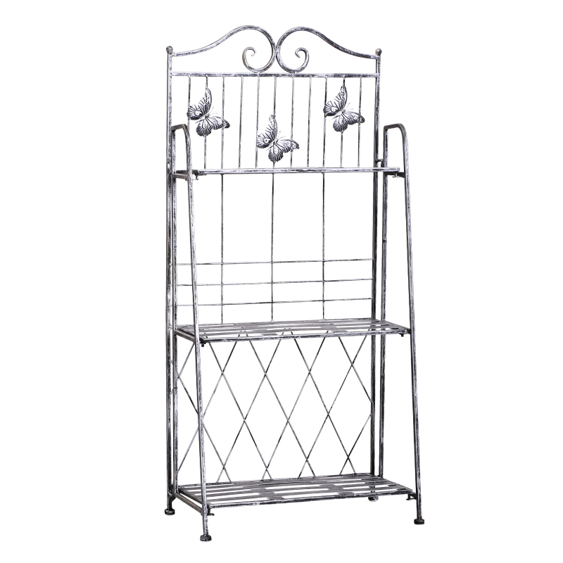 Outsunny 3-Tier Metal Folding Plant Stand Display Rack Bookshelf Unit Outdoor