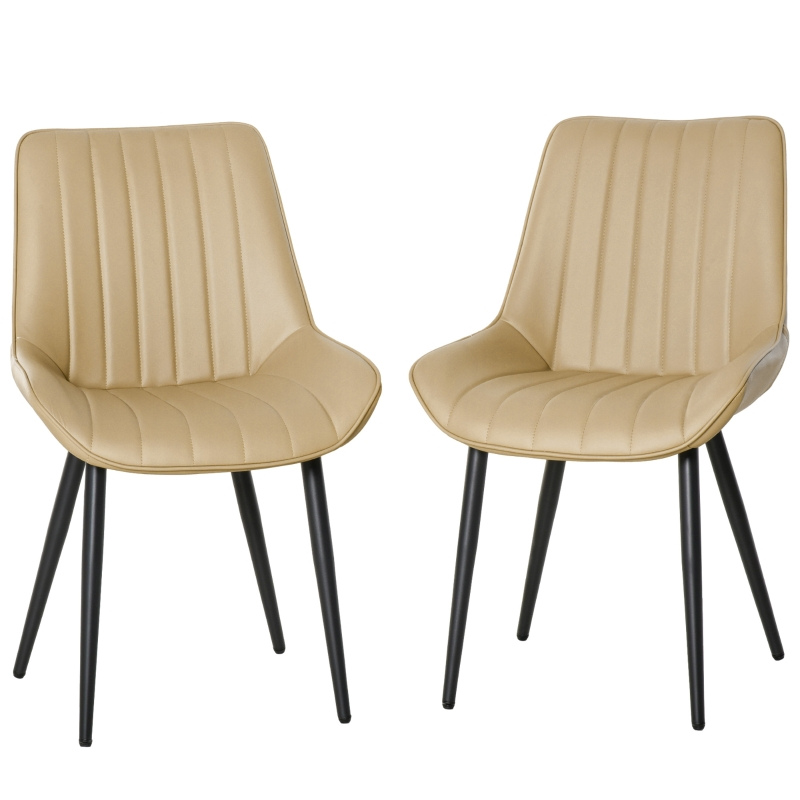 HOMCOM Mid Century Dining Chairs Set of 2 PU Leather Side Chairs Seat Metal Legs
