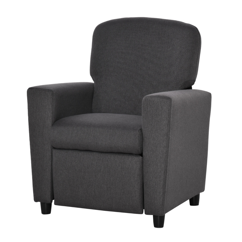 HOMCOM Kids Sofa with Footrest Linen Recliner Upholstered Armchair for Playroom Grey