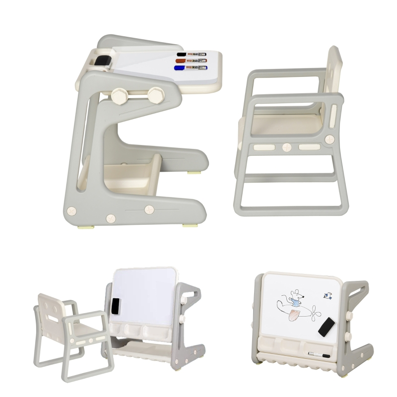 HOMCOM Toddlers 2-in-1 HDPE Eraser Board Table & Chair Set