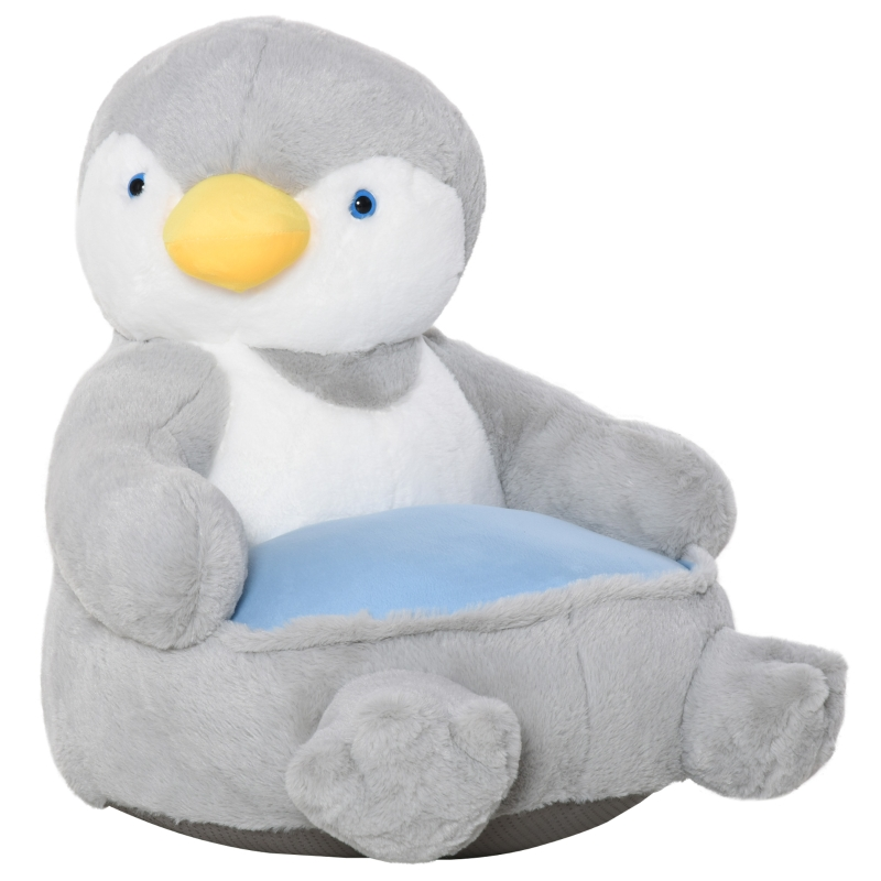 HOMCOM Animal Kids Sofa Chair Cartoon Cute Penguin Plush Armchair for 18-36 months Grey