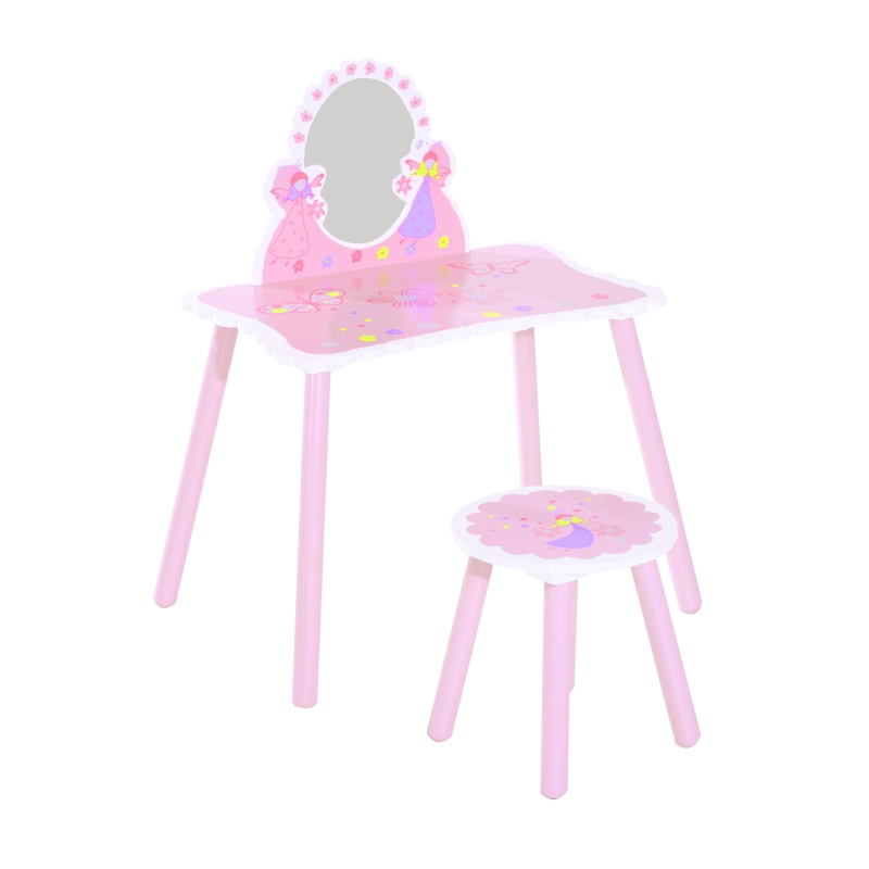HOMCOM 2 Pc Dressing Table Set-Pink