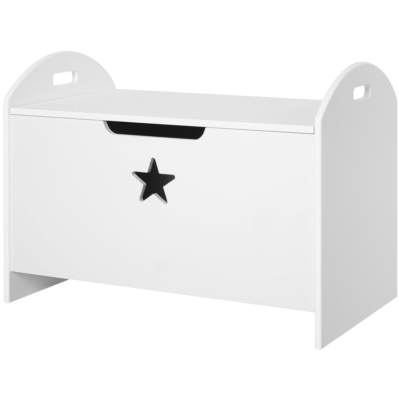 HOMCOM Toy Box Storage Organizer with Safety Hinge and Side Handle Wooden White