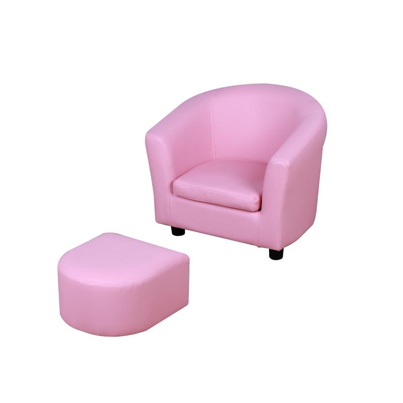 HOMCOM Kids PVC Upholstered Armchair w/ Foot Stool Pink