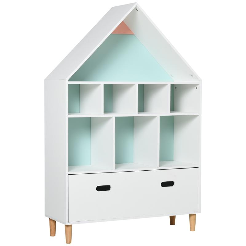 HOMCOM Kids Bookshelf Chest w/ Drawer Cubes Baby Toy Wood Organizer Display Stand