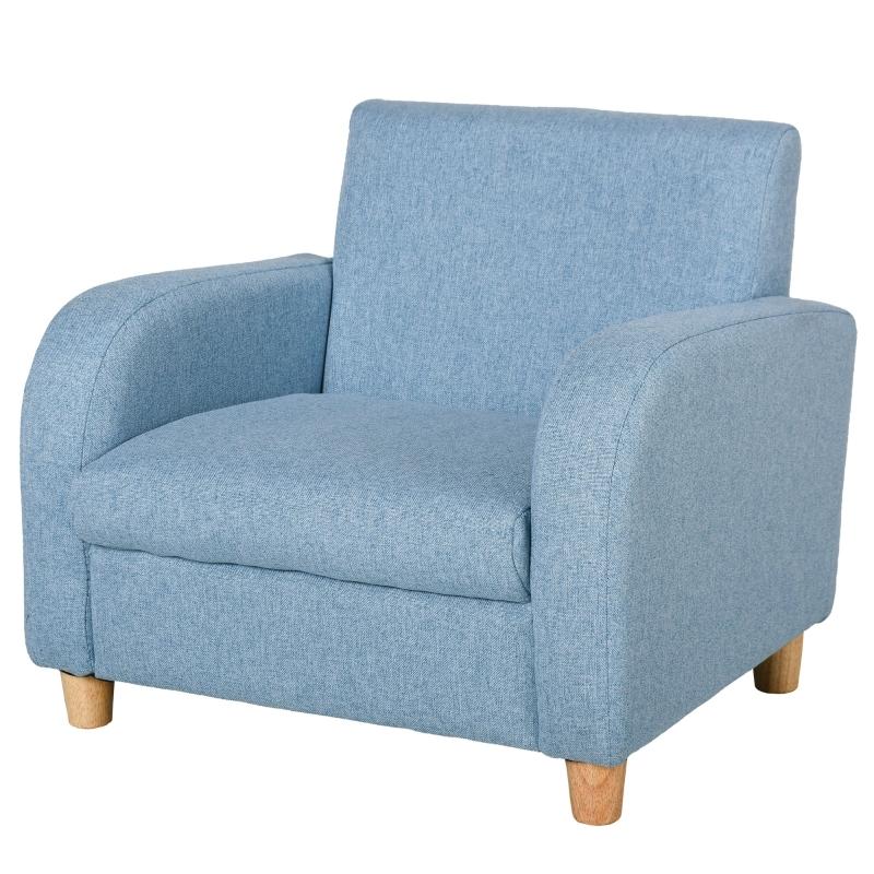 HOMCOM Kids Armchairs Children Sofa Kids Sofa Upholstered Armchai Children Armchair Sofa For Toddlers Kids Elevated Linen Armchair - Blue