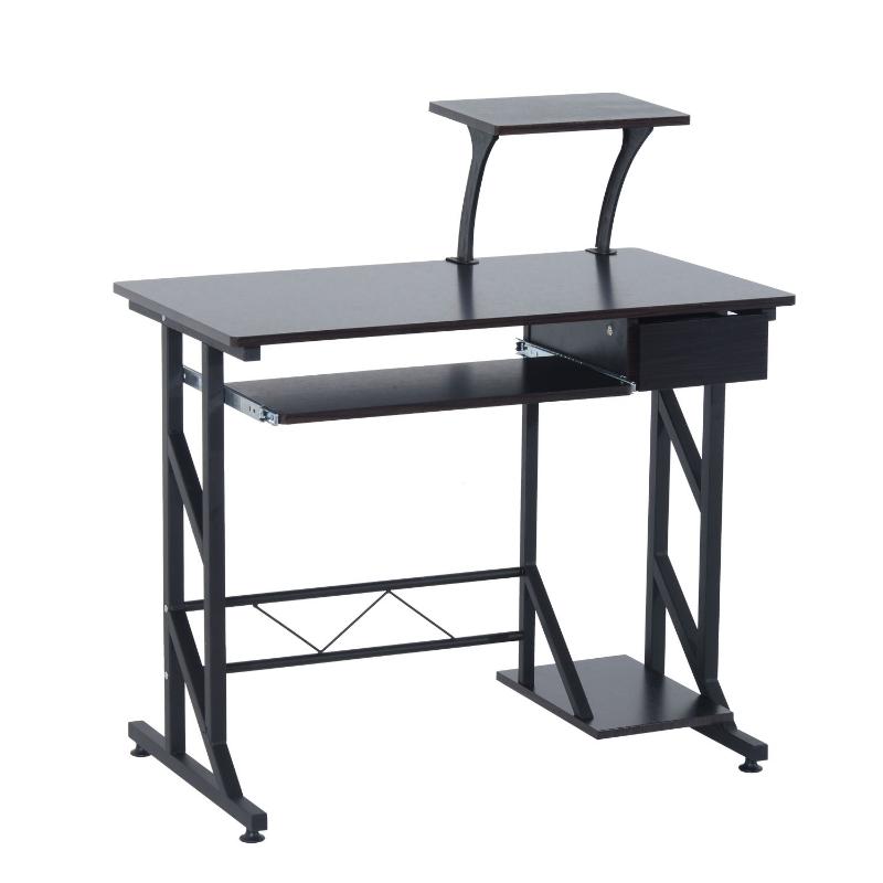 HOMCOM Compact Computer Desk-Walnut