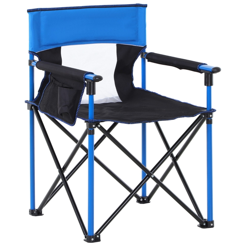 Outsunny Metal Frame Sponge Padded Folding Camping Chair w/ Pockets Blue